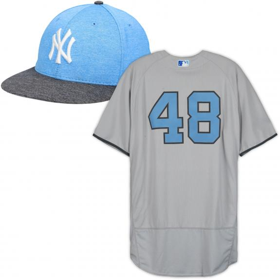 Chris Carter New York Yankees Game-Used #48 Gray Father's Day Jersey and Cap vs. Oakland Athletics on June 18, 2017 - Size 50 - Size 7 1/8 -JC081047 & JC081023