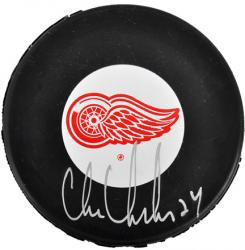 Detroit Red Wings Chris Chelios Autographed Puck - Mounted Memories