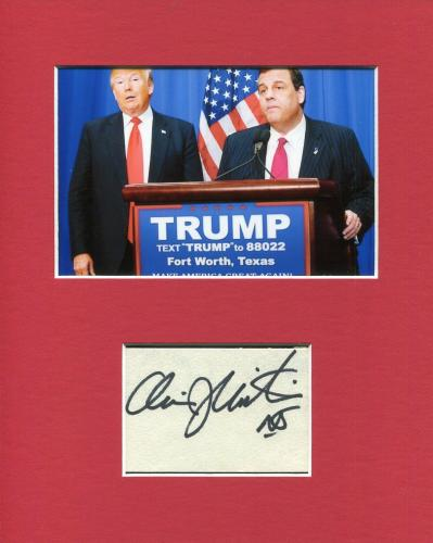 Chris Christie Governor New Jersey Signed Autograph Photo Display W Donald Trump
