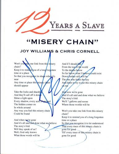 Chris Cornell Joy Williams Signed Autograph 12 YEARS A SLAVE Lyric Sheet COA VD