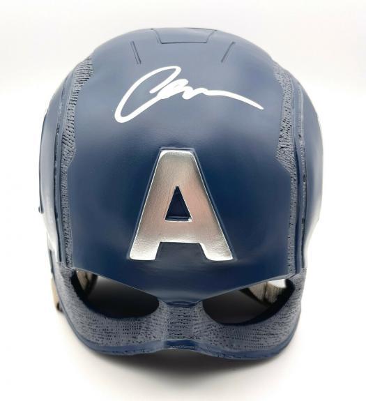 Chris Evans Signed Autograph Marvel Captain America Helmet Beckett Bas Coa 5