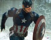 "CHRIS EVANS & STAN LEE Signed ""Captain America"" 11x14 Photo PSA/DNA #AA18218"