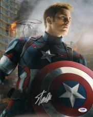 "CHRIS EVANS & STAN LEE Signed ""Captain America"" 11x14 Photo PSA/DNA #AB00984"