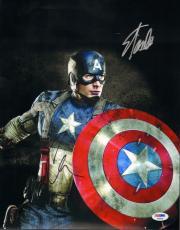 "CHRIS EVANS & STAN LEE Signed ""Captain America"" 11x14 Photo PSA/DNA #AB00985"