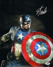 "CHRIS EVANS & STAN LEE Signed ""Captain America"" 11x14 Photo PSA/DNA #AB00986"