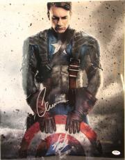 "CHRIS EVANS & STAN LEE Signed ""Captain America"" 16x20 Photo PSA/DNA #Z29210"