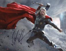 "Chris Hemsworth Autographed 8"" x 10"" Thor: In Lightning Fighting Hand in Air Grey Photograph - Beckett COA"