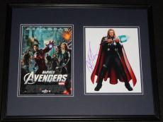 Chris Hemsworth Signed Framed 16x20 Photo Set JSA Thor Avengers