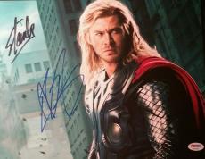Chris Hemsworth Thor Stan Lee Mr Marvel Dual Signed Autographed Photo PSA/DNA