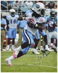 Chris Johnson Tennessee Titans Autographed 16'' x 20'' Pink Cleats & Gloves Photograph