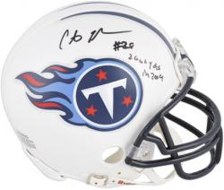 Chris Johnson Tennessee Titans Autographed Riddell Mini Helmet with 2006 YDS IN 2009 Inscription - Mounted Memories