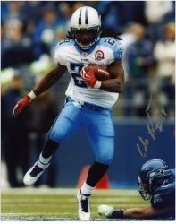 "Chris Johnson Tennessee Titans Autographed 8"" x 10"" vs Seattle Seahawks Photograph"