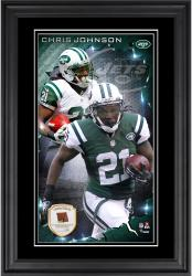 Chris Johnson New York Jets 10'' x 18'' Vertical Framed Photograph with Piece of Game-Used Football - Limited Edition of 250