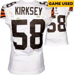 Chris Kirksey Cleveland Browns White Game-Used Jersey September 14, 2014 vs. New Orleans Saints