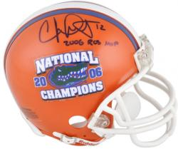 "Chris Leak Florida Gators 2006 National Champs Autographed Mini Helmet with ""2006 BCS MVP"" Inscription"