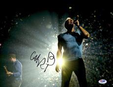 """Chris Martin Autographed 11"""" x 14"""" Singing Photograph - PSA/DNA"""