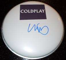 Chris Martin Signed - Autographed Drumhead with Coldplay logo sticker - Cold play Lead Singer Drum head