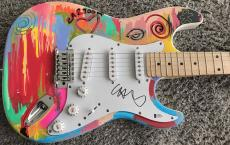 Chris Martin Coldplay Signed Autograph Custom Painted Amazing Guitar 1/1 Beckett