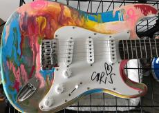 Chris Martin Coldplay Signed Autograph Custom Painted Amazing Guitar 1/1 Psa/dna