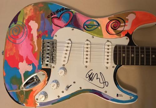 Chris Martin Coldplay Signed Autograph Custom Painted Electric Guitar Beckett