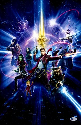 """Chris Pratt Autographed 12"""" x 18"""" Guardians Of The Galaxy 2 Photograph - Beckett COA"""