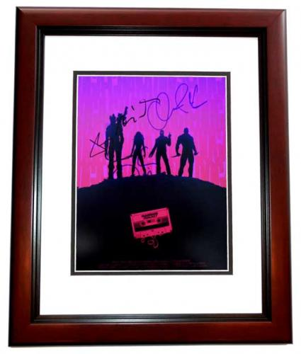 Chris Pratt, Bradley Cooper, Vin Diesel, and Zoe Saldana Signed - Autographed Guardians of the Galaxy 11x14 inch Photo MAHOGANY CUSTOM FRAME - Guaranteed to pass PSA or JSA
