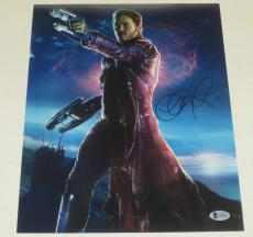 Chris Pratt Signed 11x14 Photo Guardians Of The Galaxy Proof Pic Beckett Coa A