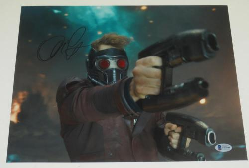Chris Pratt Signed 11x14 Photo Guardians Of The Galaxy Proof Pic Beckett Coa C