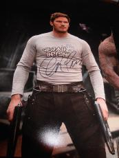 CHRIS PRATT SIGNED AUTOGRAPH 11x14 PHOTO GUARDIANS OF THE GALAXY PROMO COA X2