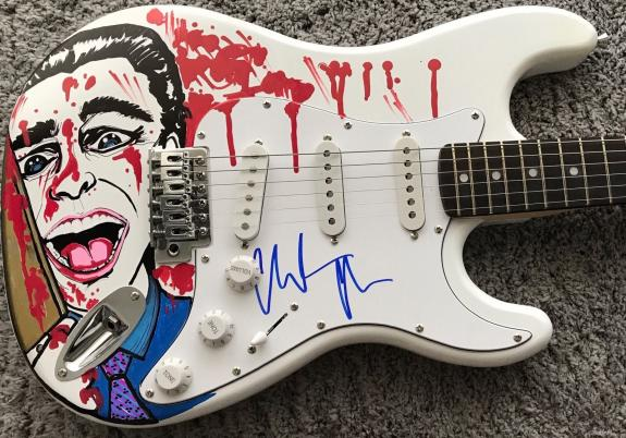 Christian Bale American Psycho Signed Autograph Custom Painted Bloody Guitar 1/1