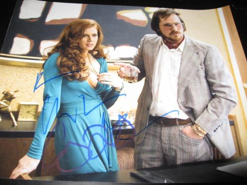 CHRISTIAN BALE AMY ADAMS SIGNED AUTOGRAPH 8x10 AMERICAN HUSTLE PROMO IN PERSON D