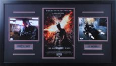 Christian Bale / Anne Hathaway Signed 8x10 with gun/8x10 batmoblie/11x17 Dark Knight Rises - Professionally Framed