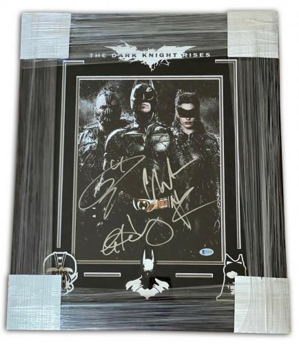 Christian Bale Anne Hathaway Tom Hardy Signed Framed The Dark Knight Rises 11x14