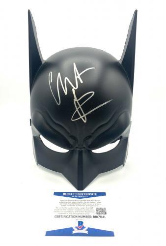 Christian Bale Autograph Signed Batman The Dark Knight Cowl Mask Beckett Bas 5