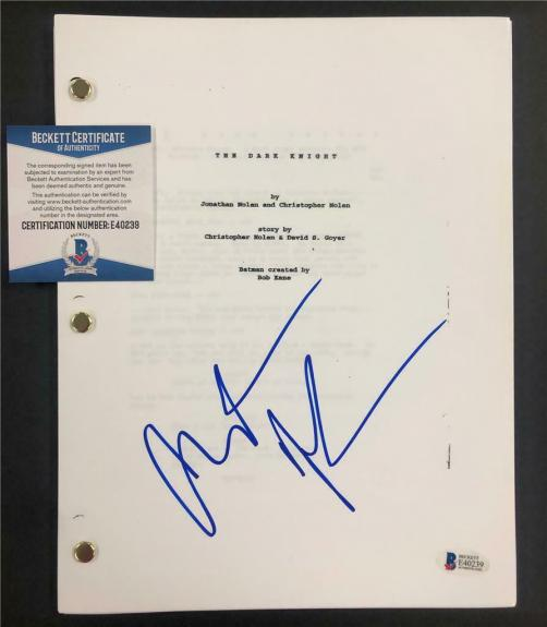CHRISTIAN BALE autograph signed THE DARK KNIGHT Movie Script ~ Beckett BAS COA