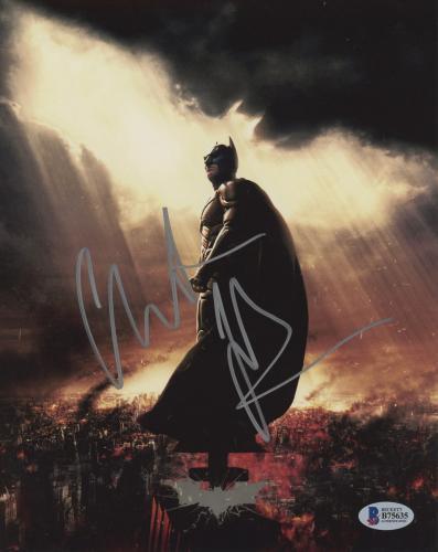 "Christian Bale Autographed 8"" x 10"" The Dark Knight Batman Begins City on Fire Batman Symbol in Sky Photograph - Beckett COA"