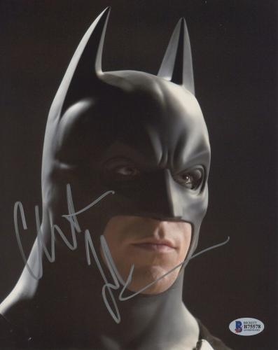 """Christian Bale Autographed 8"""" x 10"""" The Dark Knight Batman Begins Face Close Up Photograph - Beckett COA"""