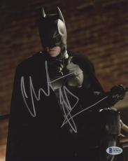 "Christian Bale Autographed 8"" x 10"" The Dark Knight Batman Begins Looking Down Brick Wall in Background Photograph - Beckett COA"