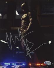 "Christian Bale Autographed 8"" x 10"" The Dark Knight Batman Begins Standing on Police Car Photograph - Beckett COA"