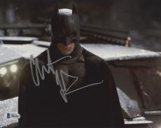 "Christian Bale Autographed 8"" x 10"" The Dark Knight Batman Begins Standing with Snow in Background Photograph - Beckett COA"