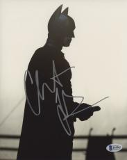 "Christian Bale Autographed 8"" x 10"" The Dark Knight Batman Begins Standing with White Background Photograph - Beckett COA"