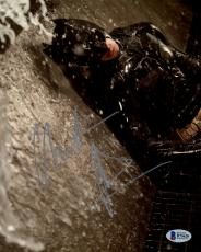 "Christian Bale Autographed 8"" x 10"" The Dark Knight Rises Batman Against Wall Raining Photograph - Beckett COA"