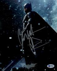 "Christian Bale Autographed 8"" x 10"" The Dark Knight Rises Batman Standing on Glass & Rocks Falling Photograph - Beckett COA"