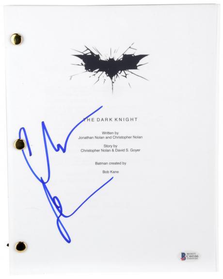 Christian Bale Autographed Batman The Dark Knight Replica Movie Script - BAS COA