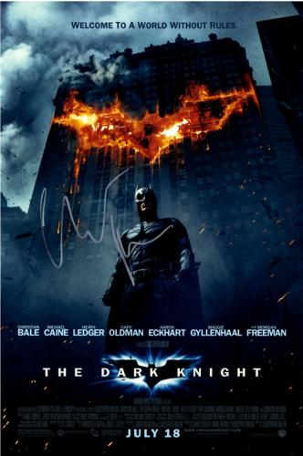 Christian Bale Autographed The Dark Knight 12x18 Poster AFTAL UACC RD COA