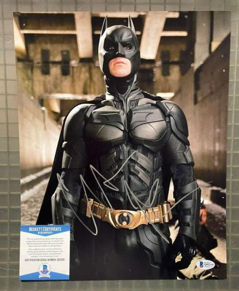 Christian Bale BAS Beckett Signed 11x14 The Dark Knight Rises Photo Autograph