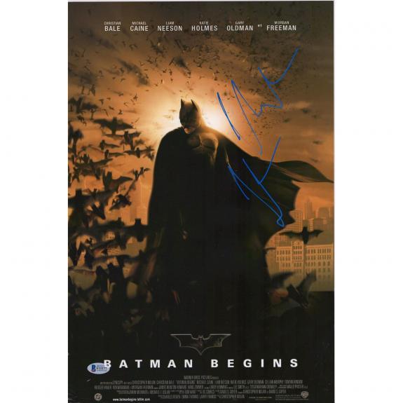 """Christian Bale Batman Begins Autographed 12"""" x 18"""" Movie Poster - BAS"""