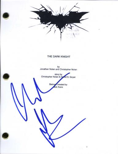 Christian Bale Batman Signed The Dark Knight Script Cover Page AFTAL UACC RD COA