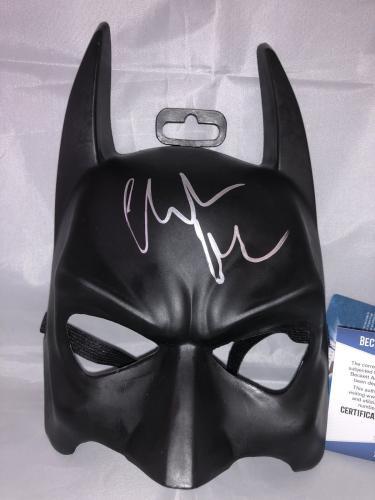 Christian Bale Hand Signed Batman The Dark Knight Mask Beckett Bas Cert #4