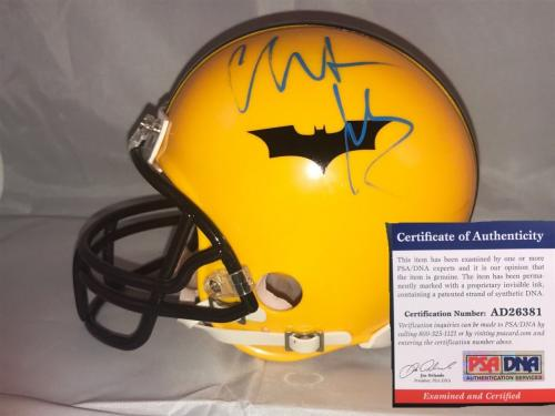 Christian Bale Hand Signed Custom Batman Mini Helmet Dark Knight Psa Dna